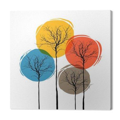 Abstrakcyjne Drzewa Na Białym. Koncepcja pory roku