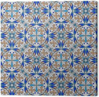 Dobra kolorowe orientalne dywan lub ozdoba ceramiczne w kolorze pomarańczowym i niebieskim z białymi krzywych na czarnym tle, wektor symetryczne wzory geometryczne