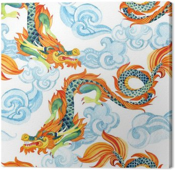 Chinese Dragon seamless pattern. Asian dragon illustration