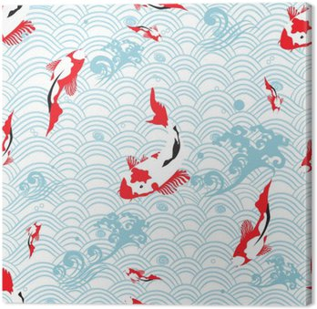 Seamless pattern oriental texture with koi carp ; vector illustration