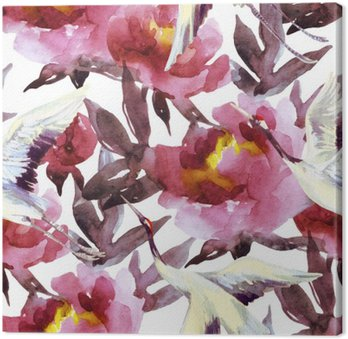 Hand painted watercolor peonies and crane birds
