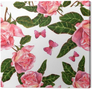 Seamless background pattern with vintage style watercolor roses
