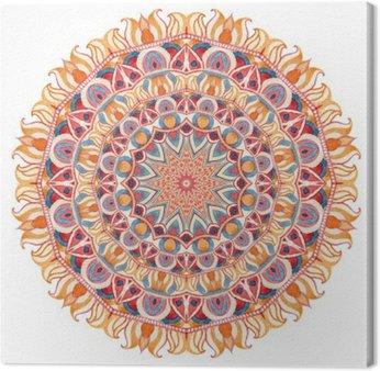 Akwarela mandali z świętej geometrii. Ozdobne koronki na białym tle.