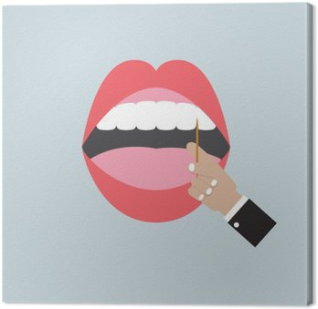 Toothpick In Hand With Open Mouth Vector Illustration