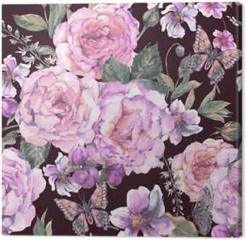 Jednolite tło z róż i motyli