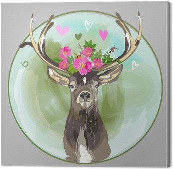 colorful head of deer with flowers