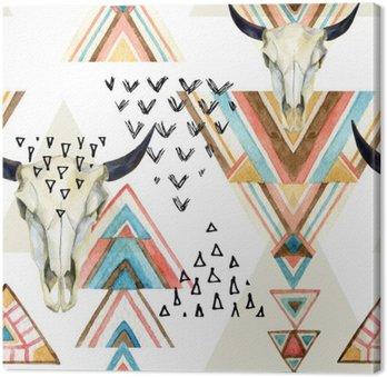 Abstrakcyjna Akwarele zwierząt czaszki i ornamentem geometrycznym szwu.