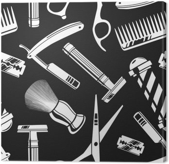 Seamless pattern background with vintage barber shop tools