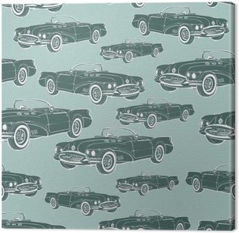 Vintage samochód kabriolet bez szwu wzór retro cartoon tła, monochromatycznych. Przy projektowaniu tapety, owijki, tkaniny. ilustracji wektorowych
