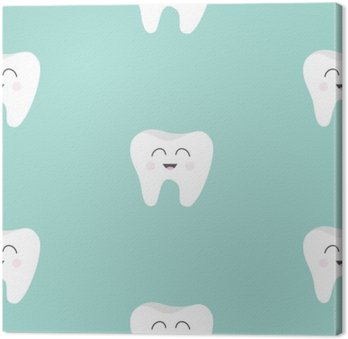 Seamless Pattern Tooth health. Cute funny cartoon smiling character. Oral dental hygiene. Children teeth care. Baby texture. Flat design. Blue background.