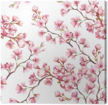Jednolite wzór z kwiatów wiśni. Ilustracja akwarela.