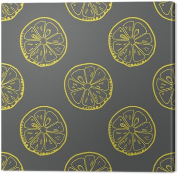 Pattern with lemon slices on gray background.