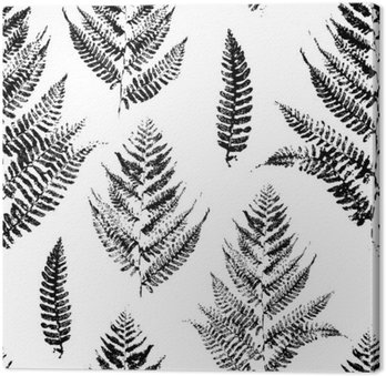 Seamless pattern with paint prints of fern leaves
