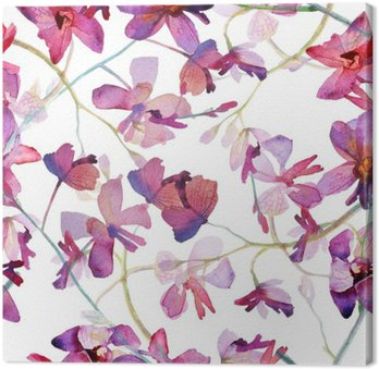 Orchids purple seamless pattern. Watercolor painting.