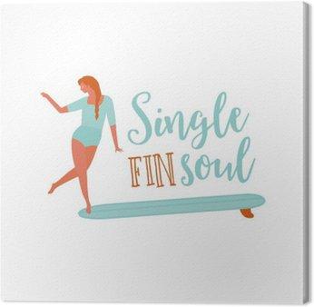 Pojedyncze fin longboard surfing ilustrację wyważanie Surfer Girl. Tekst cytat plakat na przejażdżki fali. w stylu retro.