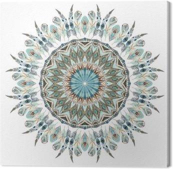 Watercolor ethnic feathers abstract mandala.