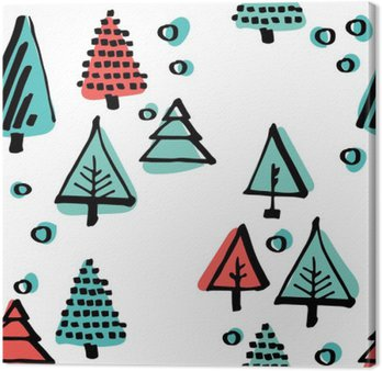 Hand-drawn pattern, Scandinavian pattern done in black ink minimalist ornament circles, trees, stars
