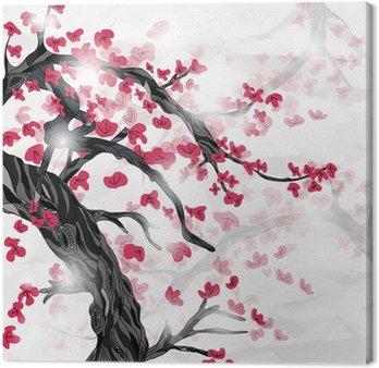 Kwiat wiśni wiosną ispired przez japońskiego malarstwa
