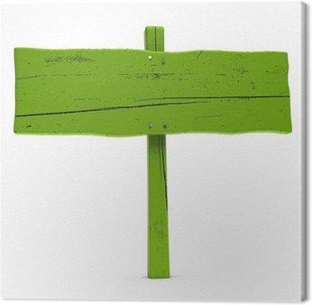Drewno drogowskaz pomalowane na zielono. Zielony znak