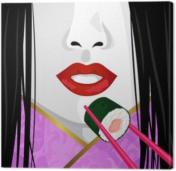 Zbliżenie na twarz Japoński kobieta jedzenia sushi