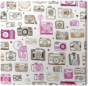 Seamless photo camera doodle pattern in vector
