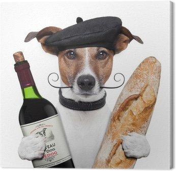 Francuski beret bagietki wina psa