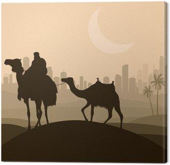 Camel caravan w arabskim mieście wieżowiec krajobraz ilustracja B