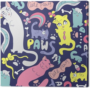 Colorful seamless pattern with cute various cats