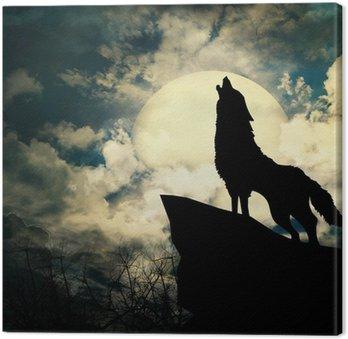 Wycie wilka w sylwetce do pełni księżyca