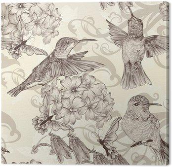 Piękne tła bez szwu tapety z humingbirds w rocznika