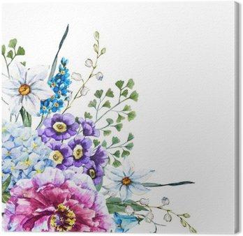 Ręcznie rysowane kwiaty akwarela