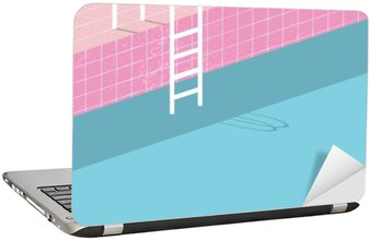 Swimming pool in vintage style. Old retro pink tiles and white ladder. Summer poster background template.