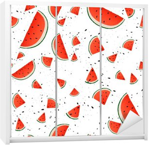 Seamless pattern of watermelon slices. Vector summer background with hand drawn slices of watermelon. Vector.