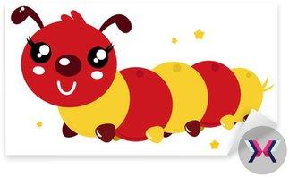 Kolorowe szczęśliwy cartoon caterpillar wyizolowanych na białym